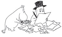 Black and white drawing of Moominpappa working
