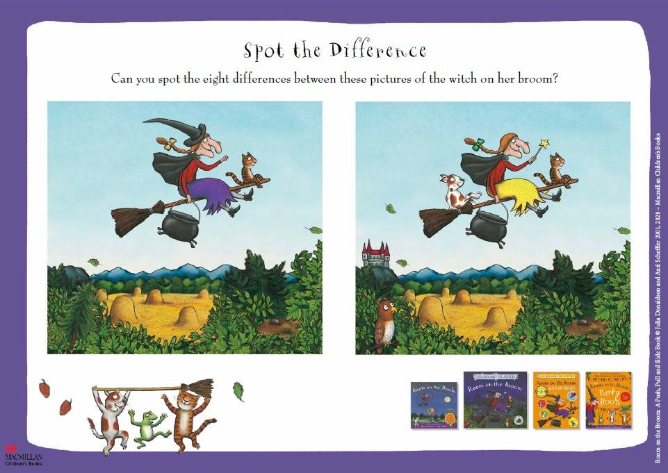 Room on the Broom spot the difference activity sheet