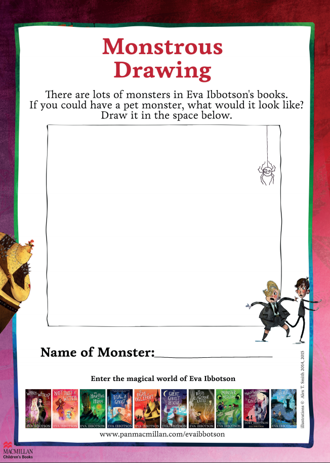 Activity sheet to draw your own monster