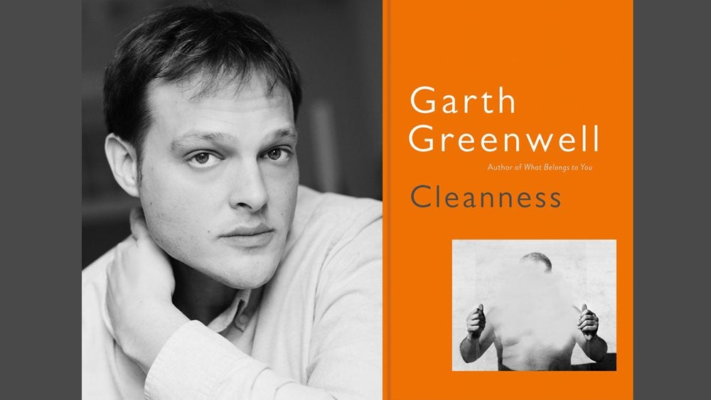 Black and white photo of Garth Greenwell and the book cover of Cleanness
