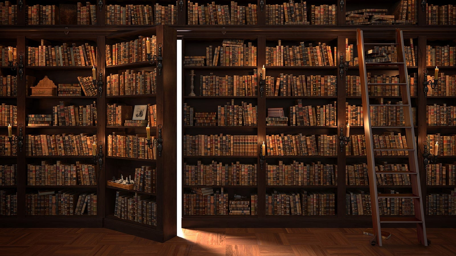 Library with old books, ladder and secret door