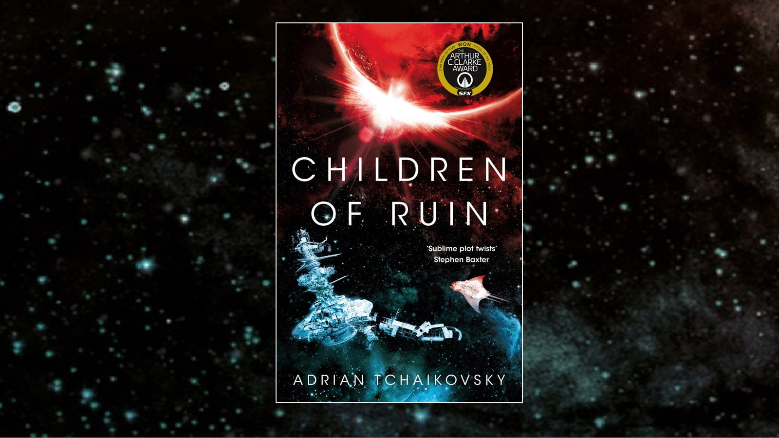 Children of Ruin book jacket against the background of a starry night