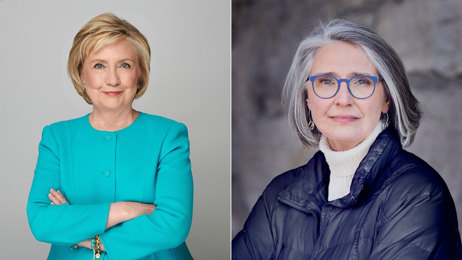 Image of Hillary Clinton smiling next to an image of Louise Penny