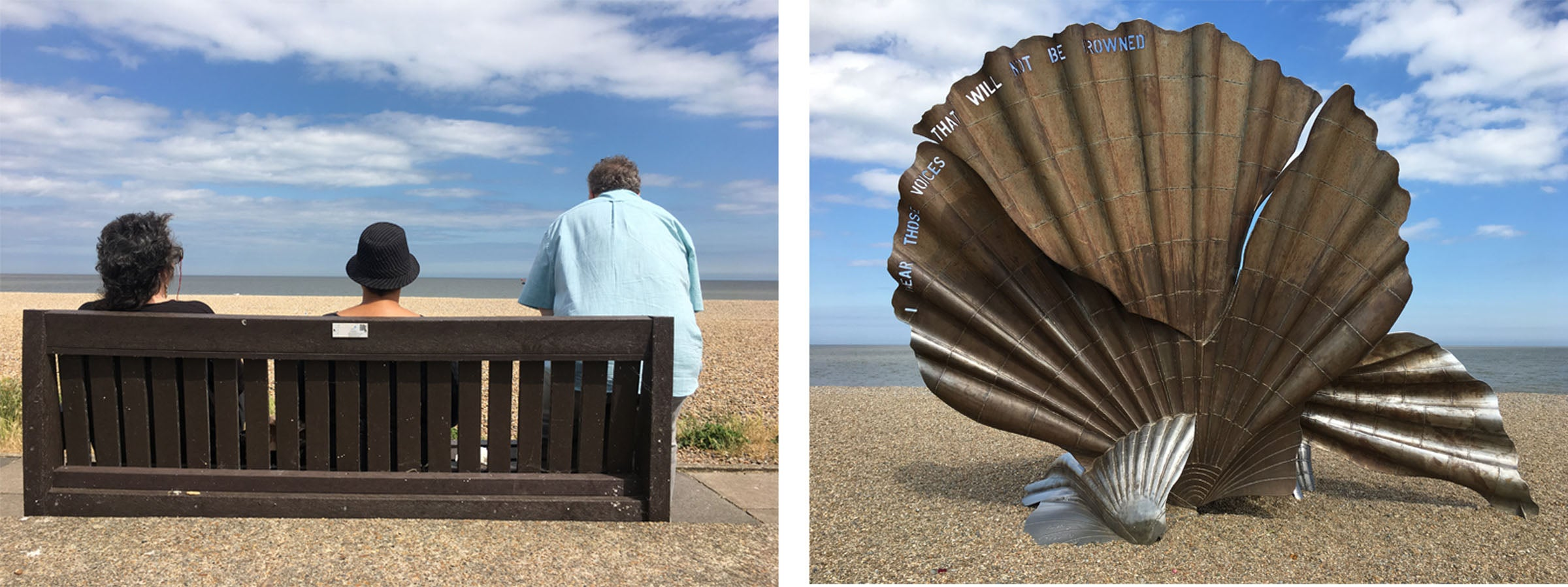 The shell shaped Scallop structure; the poets on a bench observing the view