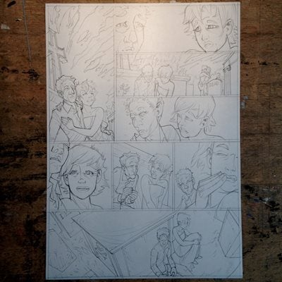 Sketch of comic page - Dan and Sam