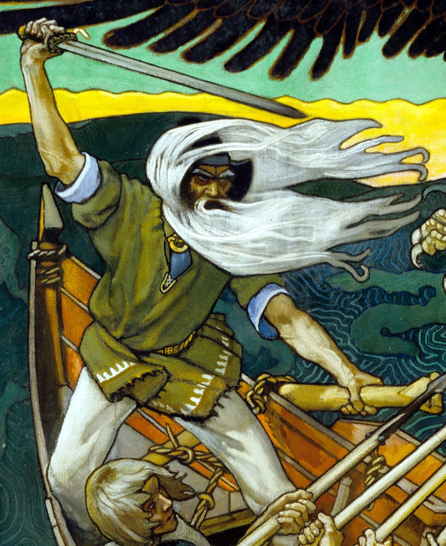 Väinämöinen, a man with a white beard and long white hair raising his sword in battle at the helm of a ship