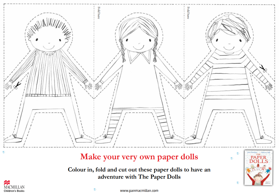 the outline of three paper dolls holding hands, ready to be cut out and coloured in