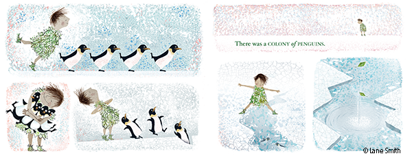 Illustrated spread of girl and penguins from There Is a Tribe of Kids
