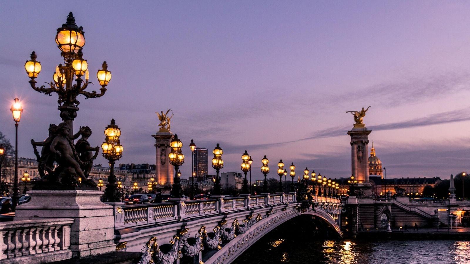 Paris sunset evening bridge