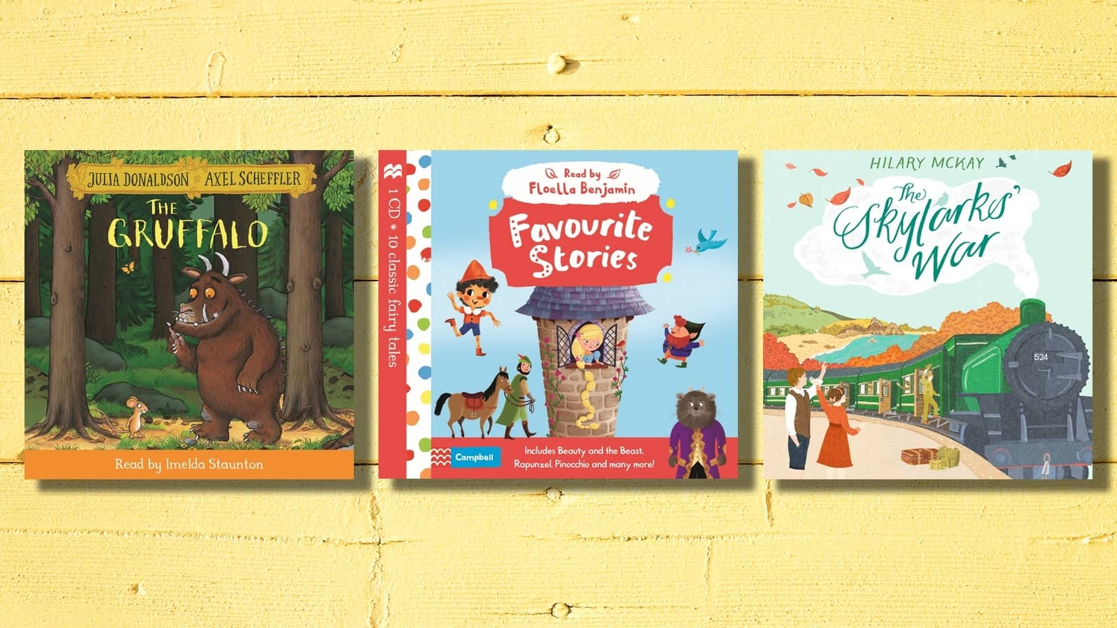 Book covers of The Gruffalo, Favourite Stories and the Skylark's War on a yellow background
