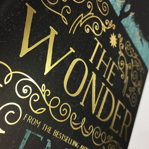 A close up of The Wonder dust jacket.