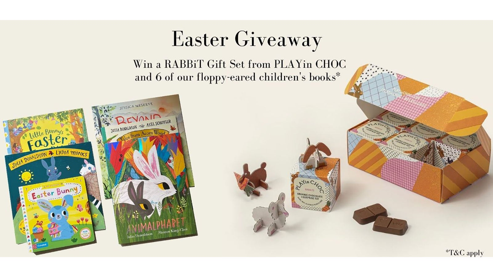 A range of Pan Macmillan children's books and a Rabbit Gift Set from PLAYin CHOC.