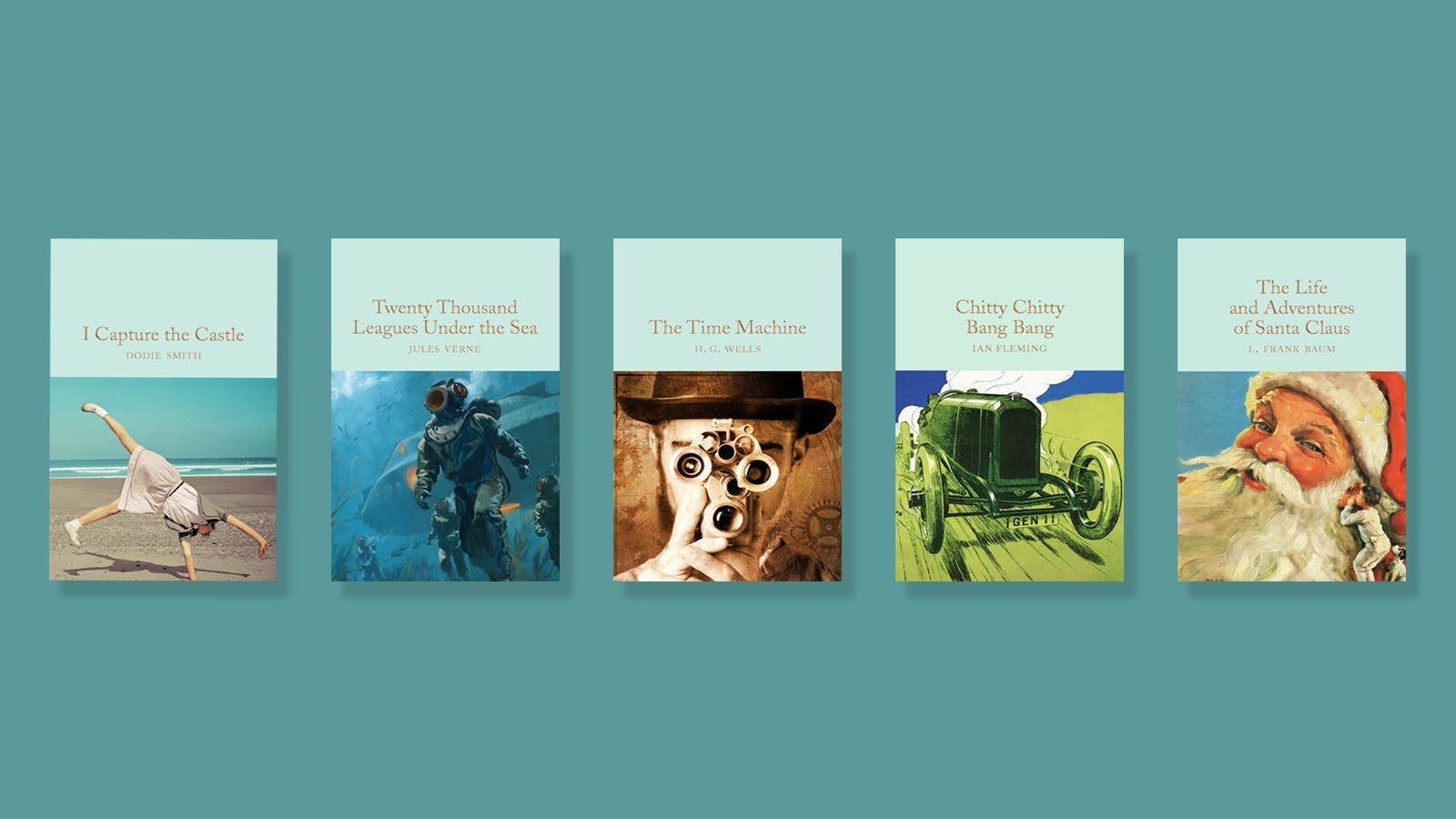 Macmillan Collector's Library Books on Turquoise background