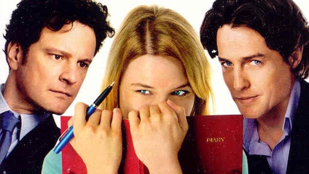 Renee Zellweger, Colin Firth and Hugh Grant in the film of Bridget Jones's Diary