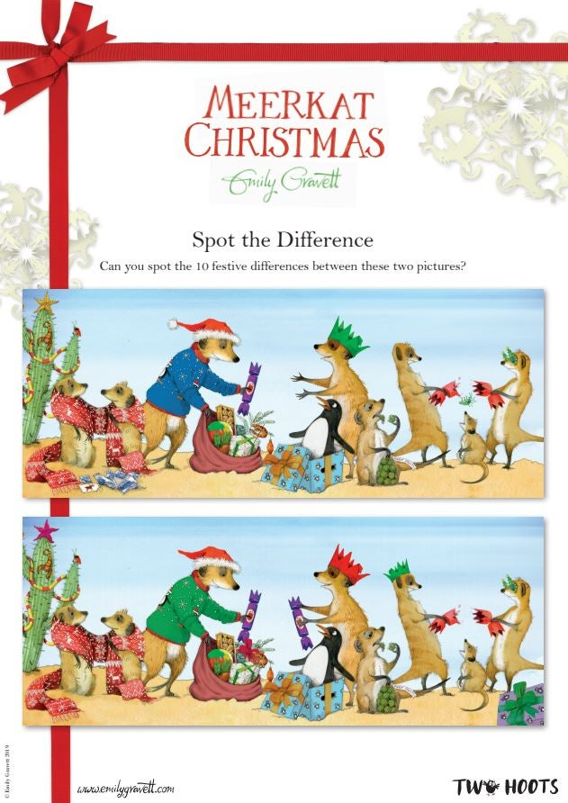 Meerkat Christmas spot the difference activity sheet