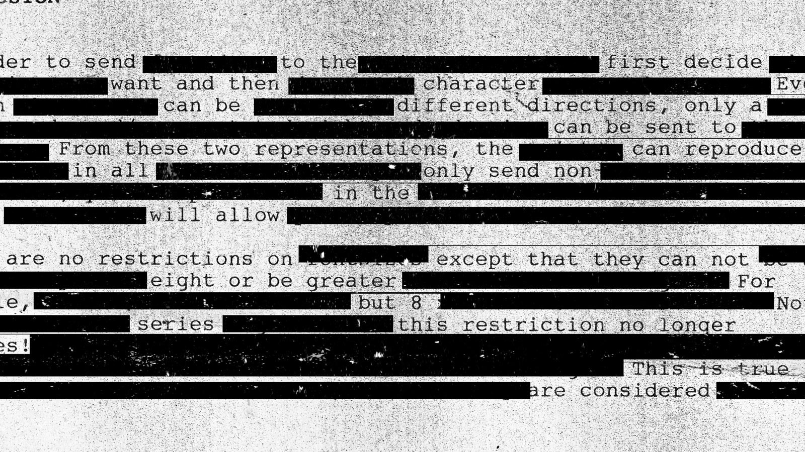 Page of typing with words censored