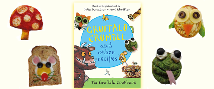 The Gruffalo Crumble and Other Recipes book with food from the book.