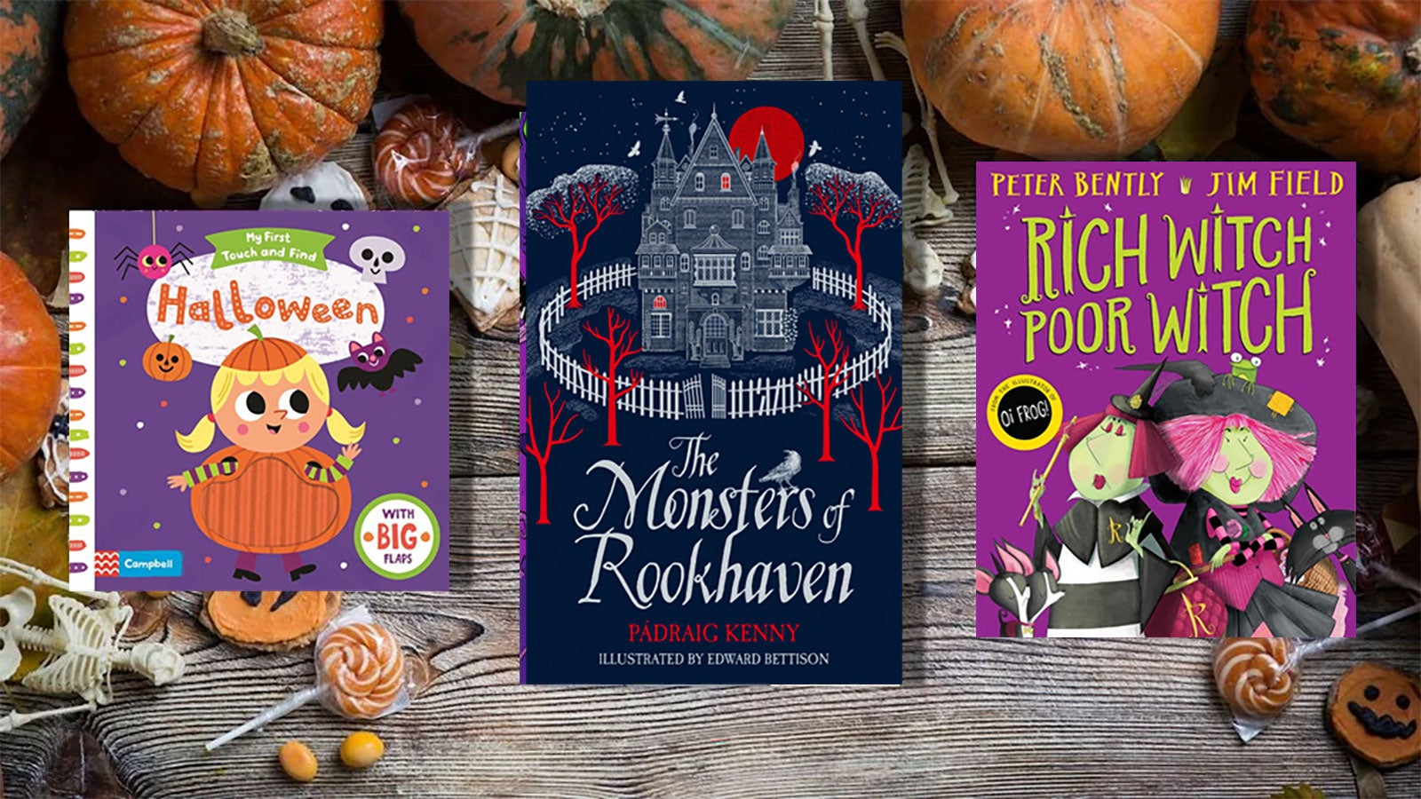 Halloween, The Monsters of Rookhaven and Rich Witch, Poor Witch against a background of pumpkins and sweets