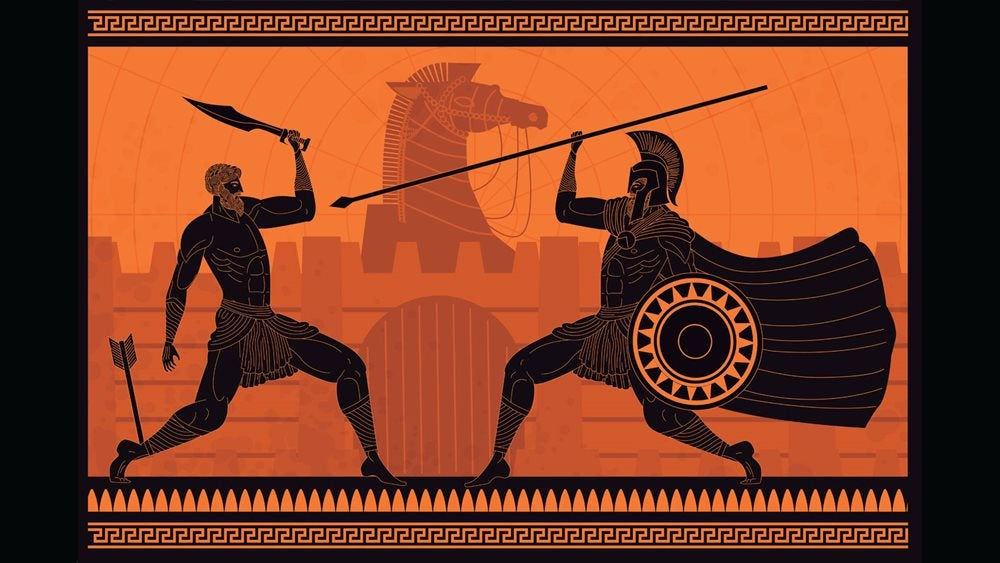 Illustration of soldiers fighting in the Trojan War