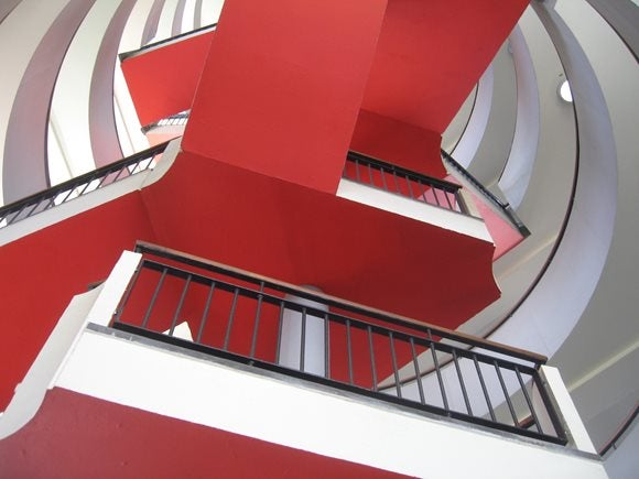 Bevin Court red staircase, Islington, London, England