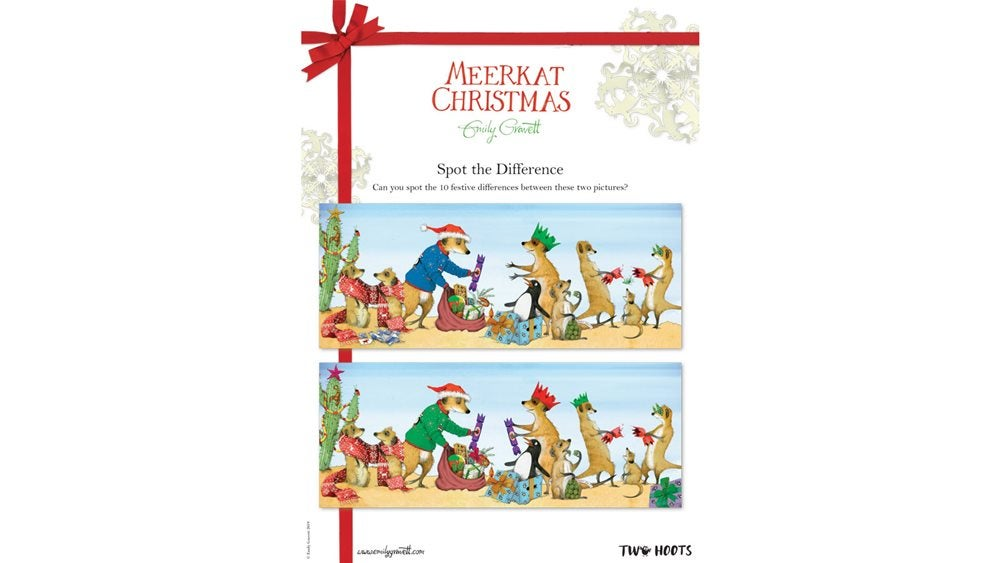 Meerkat Christmas spot-the-difference activity sheet