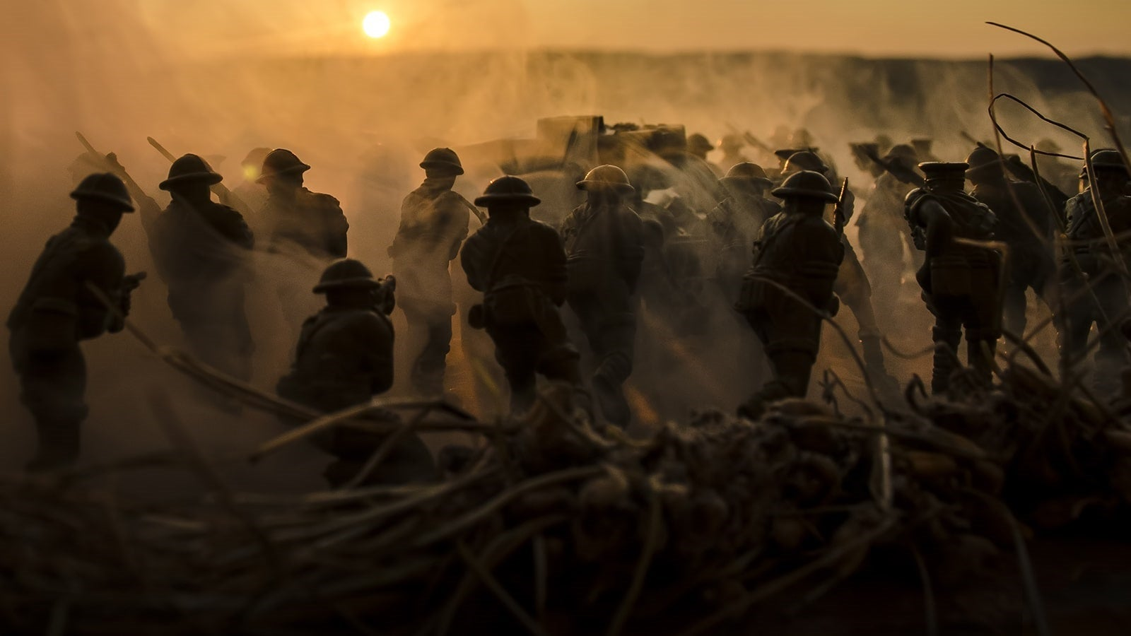 Soldiers on the front line at sun set