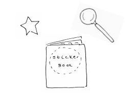 Illustration of a sticker book, star and magnifying glass