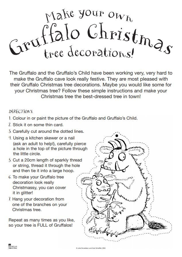 The Gruffalo Christmas decorations activity sheet