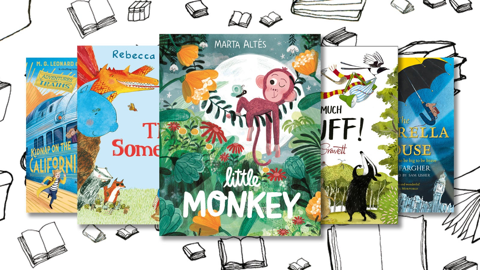 Book covers for Little Monkey, The Something, Too Much Stuff, The Umbrella Mouse and Kidnap on the California Comet, against a monochrome background of books