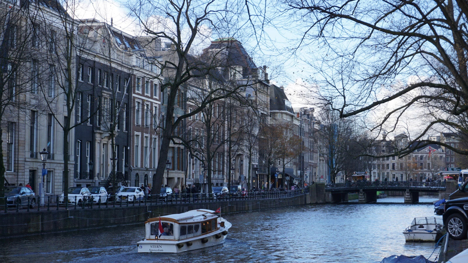 Gouden Bocht (The Golden Bend) Amsterdam - showing the canal and beautiful buildings on either side, in winter
