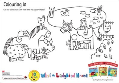 Colouring sheet showing all of the farmyard animals by a pond