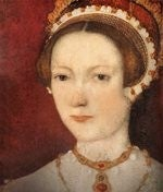 Head and shoulders tudor portrait painting of Katherine Parr wearing a red jewelled necklace