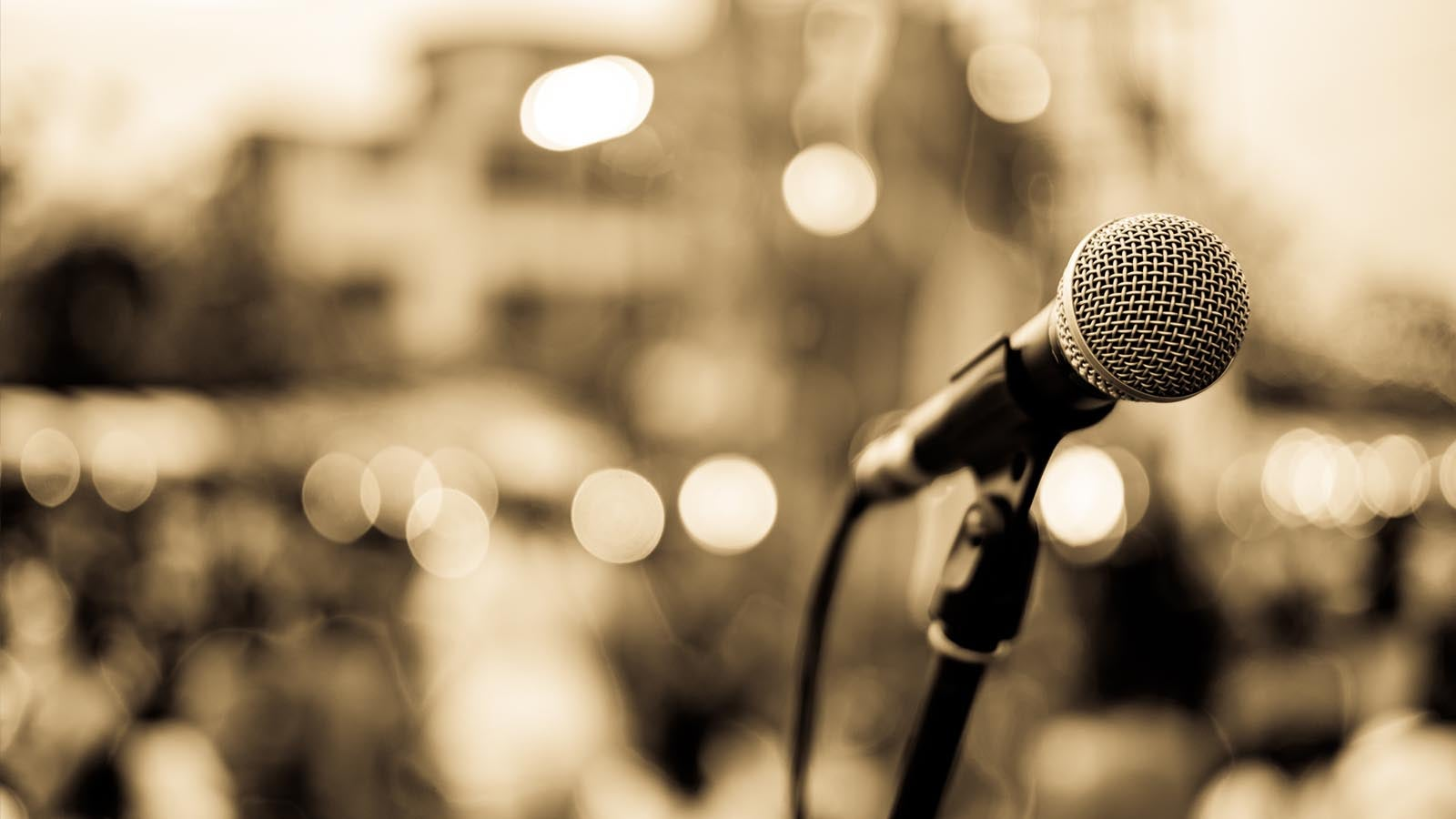 Close up photograph of a microphone