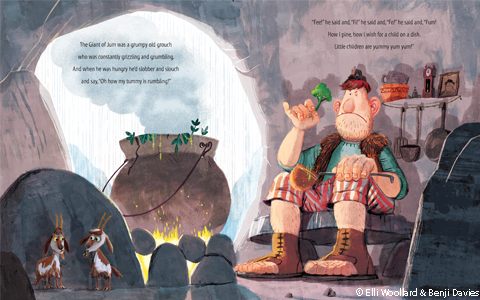 Illustrated spread from The Giant of Jum