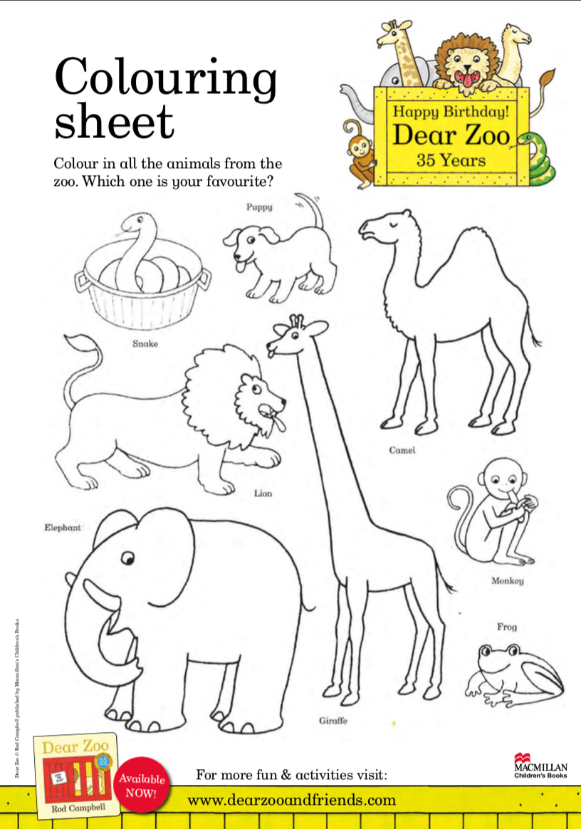 Colouring sheet - Dear Zoo