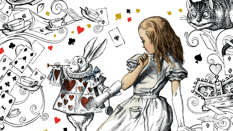 Illustrated picture of Alice and the White Rabbit surrounded by playing cards