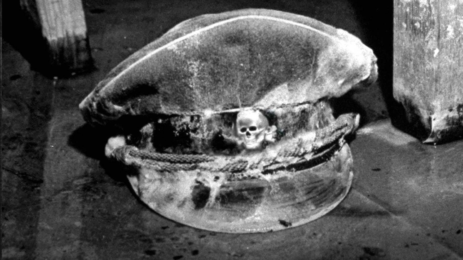 Black and white photograph of a SS uniform hat
