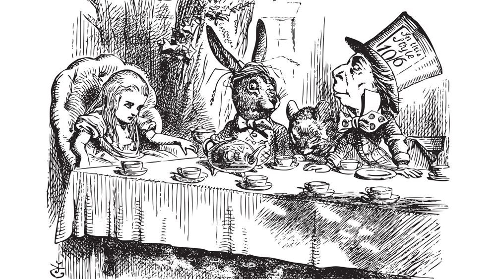 Illustration of Alice, the March Hare and the Mad Hatter having tea by John Tenniel