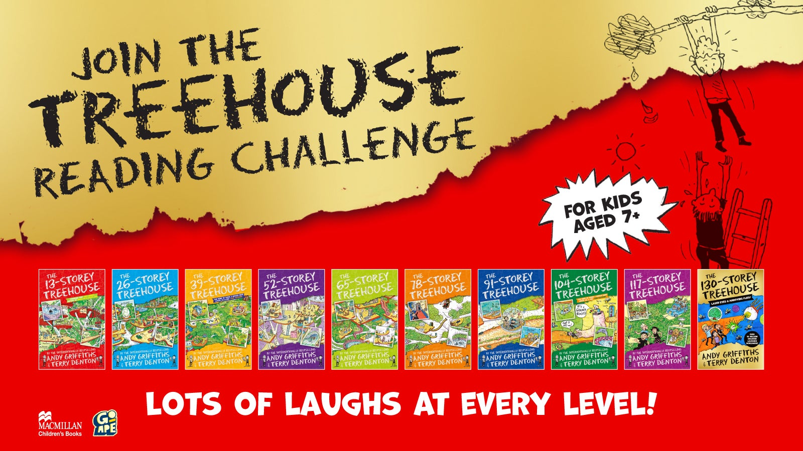 A graphic that reads 'Join the Treehouse Reading Challenge' and shows each of the books in the Treehouse series.