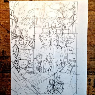 First sketch of comic book page - Dan and Sam