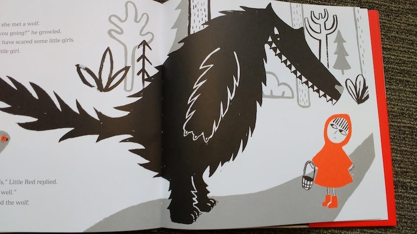 Illustration of the wolf and Little Red in the finished book