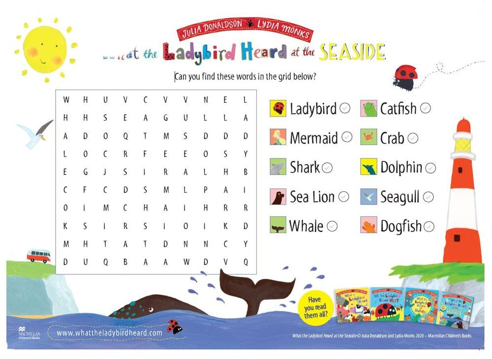 Activity Sheet  - Wordsearch - What The Ladybird Heard at the Seaside - Julia Donaldson