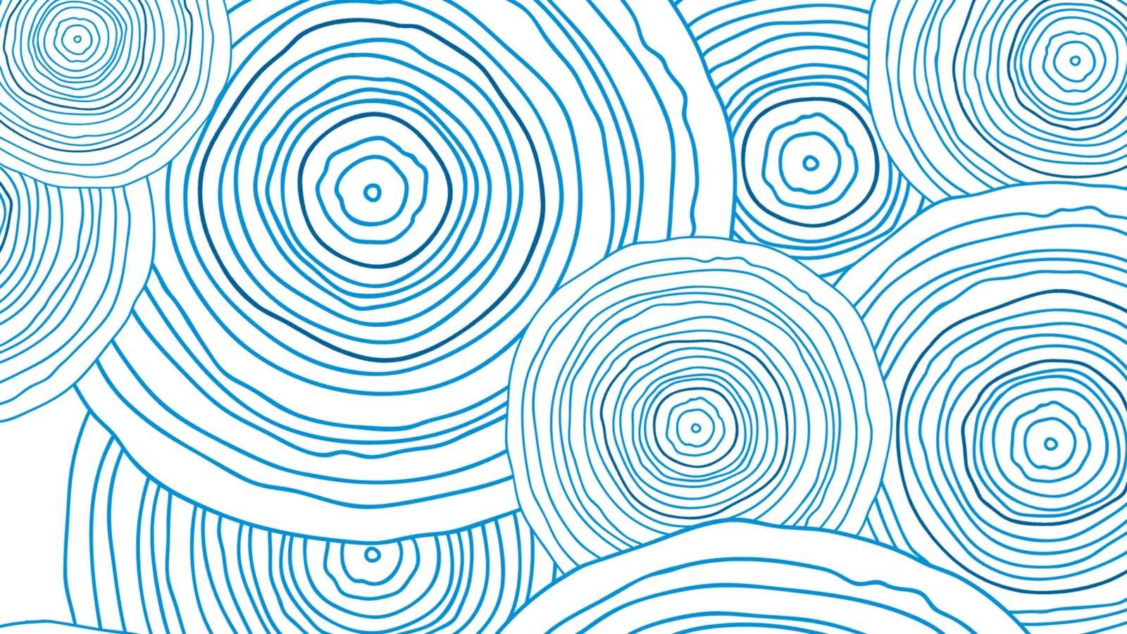 Artwork showing blue patterns of circles