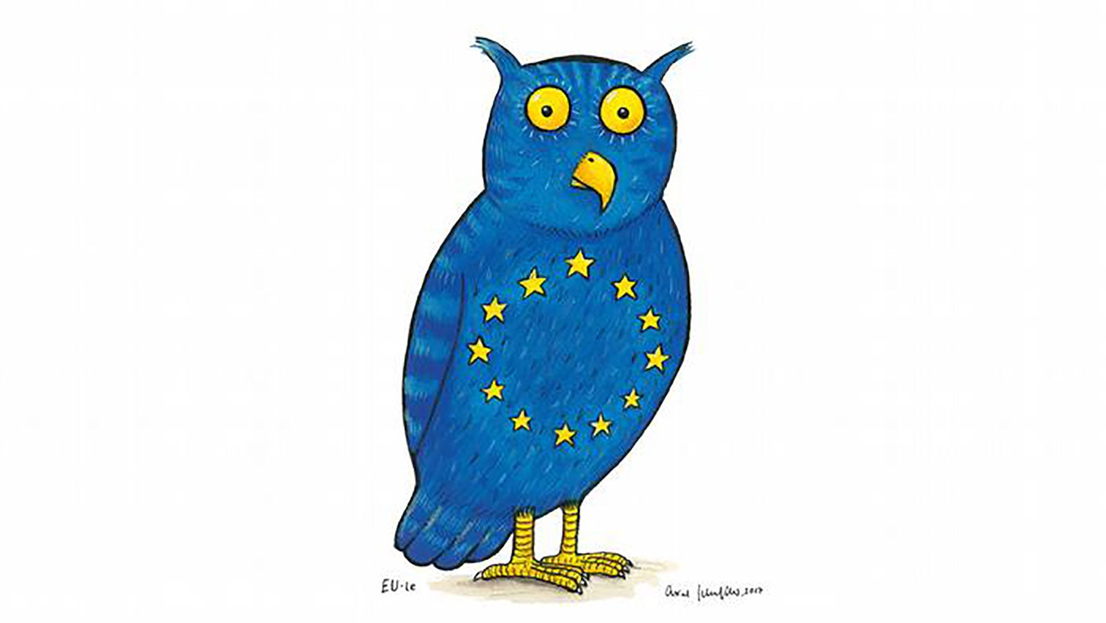 Axel Schefflers illustration of a blue own with the yellow stars of the EU on its chest