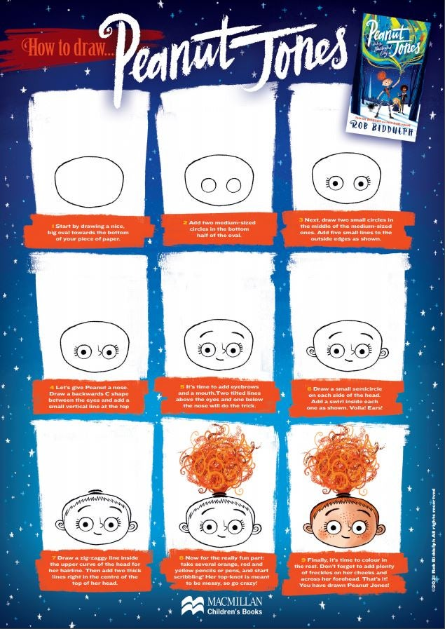 An accompanying activity sheet that shows the simple step-by-step process of drawing the character Peanut Jones.