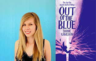 Sophie Cameron with long blond hair in front of a blue background, next to her book Out of the Blue