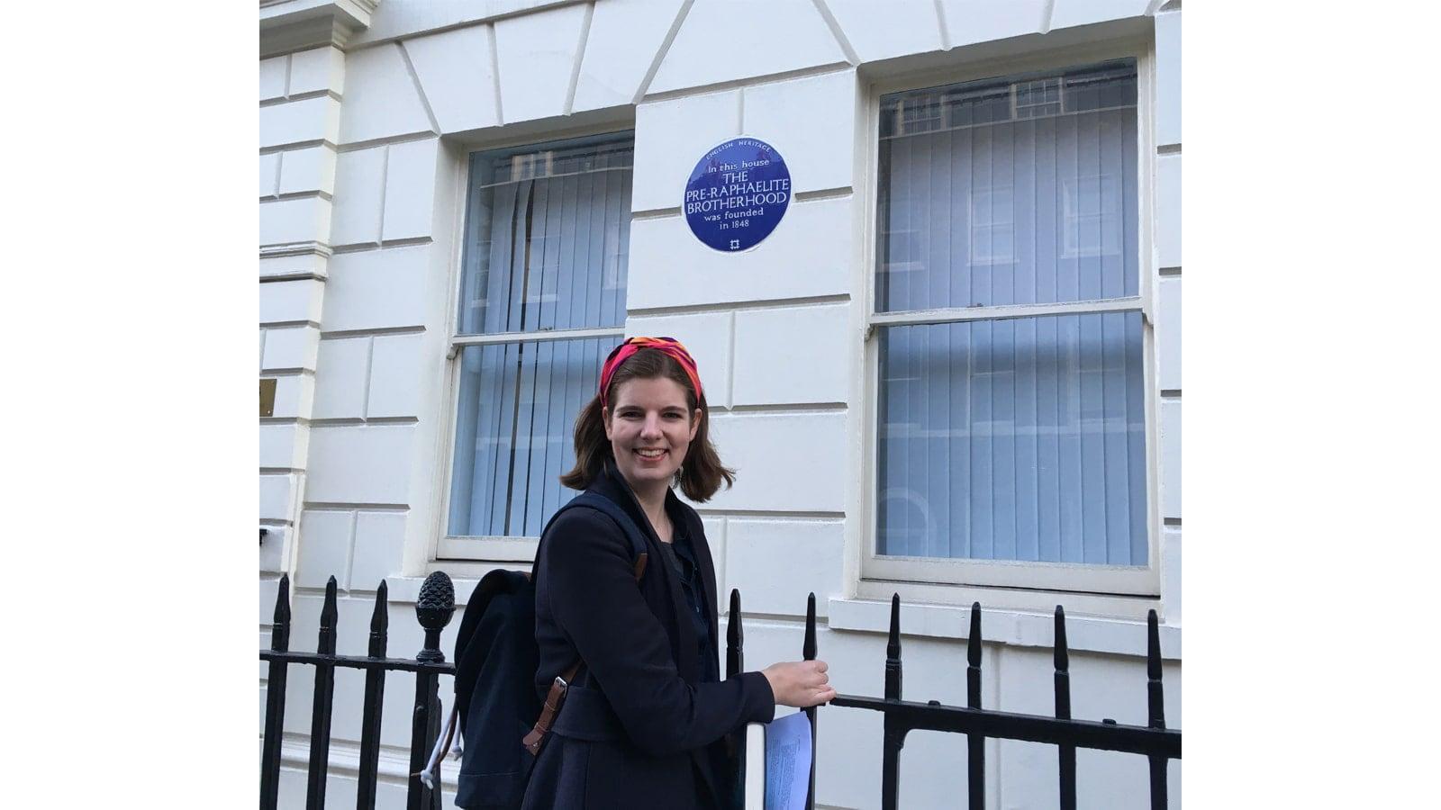 Elizabeth Macneal outside 7 Gower Street