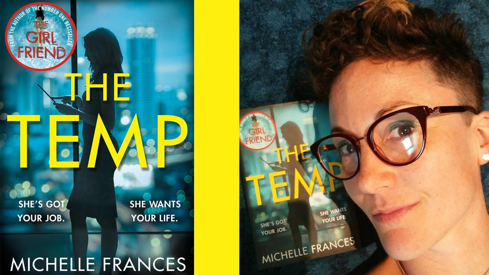 The Temp book jacket next to a photograph of Imogen Church posing with a copy of The Temp.