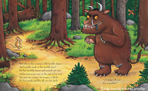 Axel Scheffler's Illustrated spread of Gruffalo and Mouse from The Gruffalo