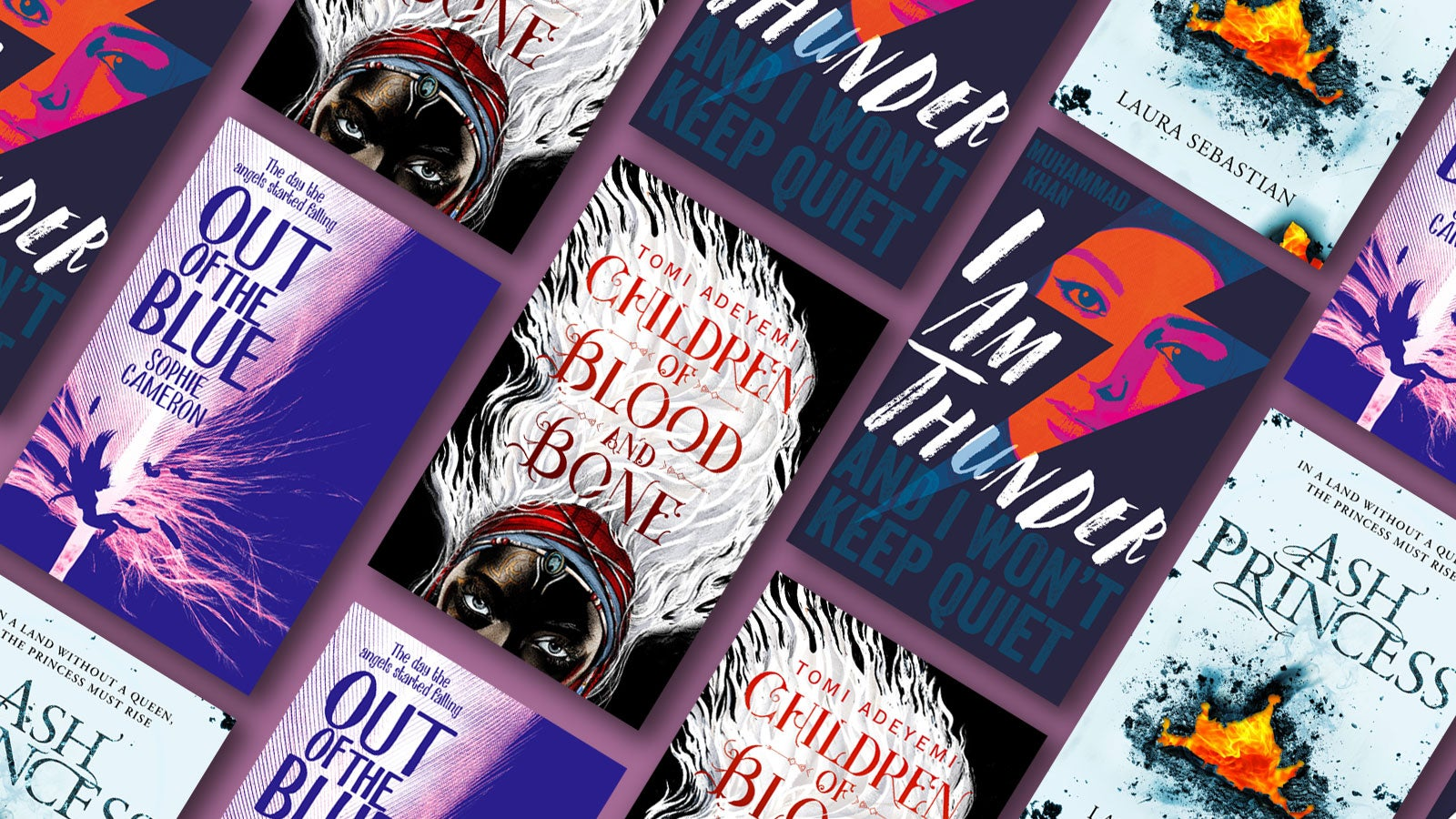 Tiled effect of book covers for Children of Blood and bone, I am Thunder and Out of the Blue